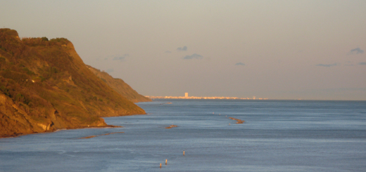 Panorama di Rimini illuminato dal sole visto da Baia Flaminia