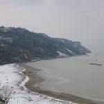 Neve in spiaggia in Baia Flaminia il giorno 27/02/2018